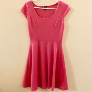 Pink fit and flare cap sleeve dress